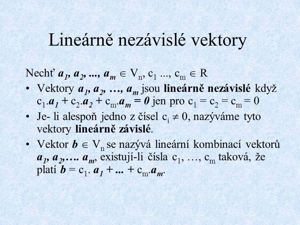 Lineárně nezávislé vektory