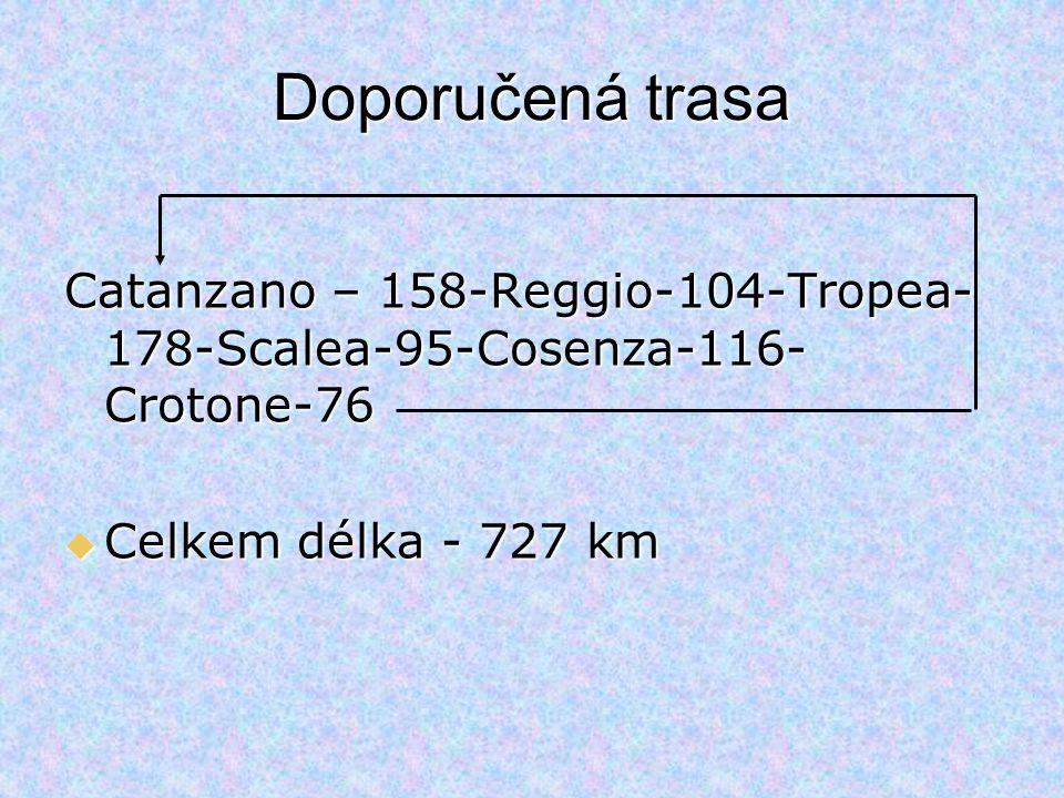 Doporučená trasa Catanzano – 158-Reggio-104-Tropea-178-Scalea-95-Cosenza-116-Crotone-76.