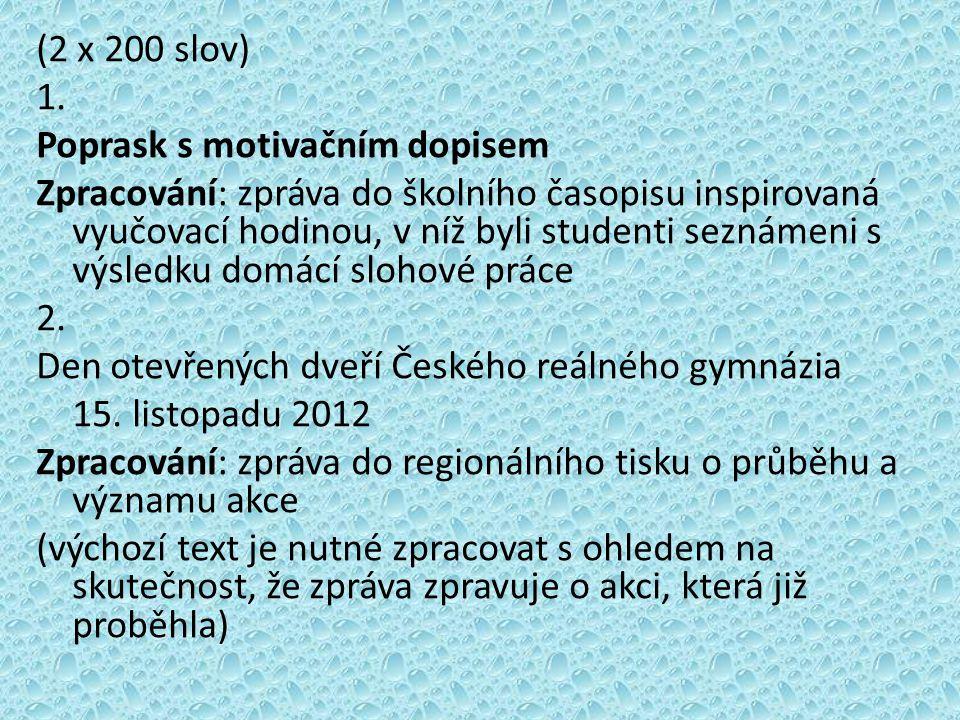 (2 x 200 slov) 1.