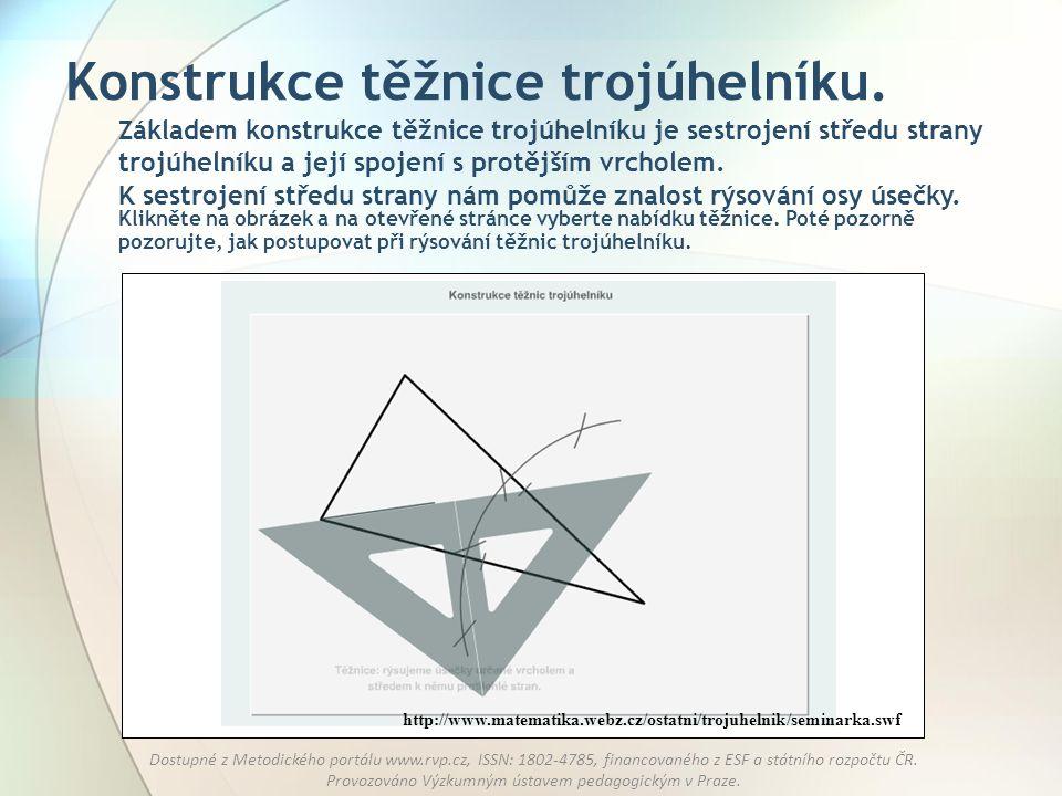 Konstrukce těžnice trojúhelníku.