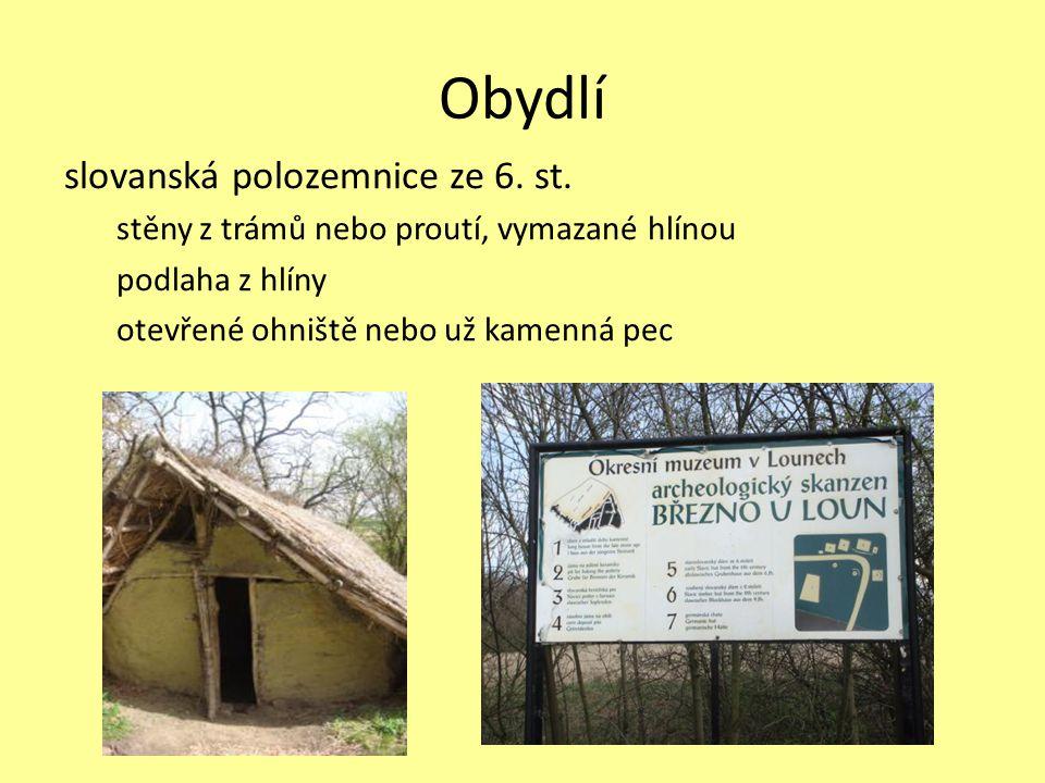 Obydlí slovanská polozemnice ze 6. st.