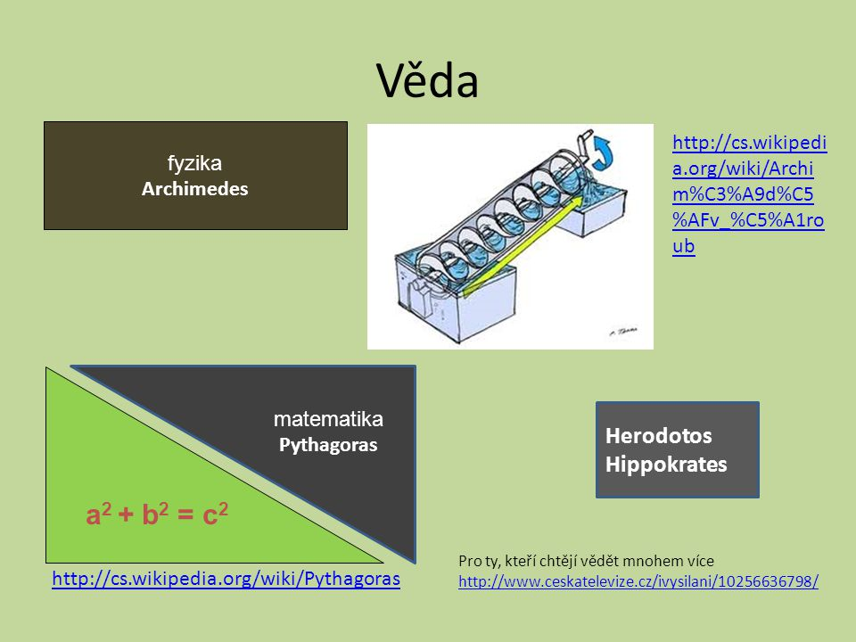 Věda a2 + b2 = c2 Herodotos Hippokrates