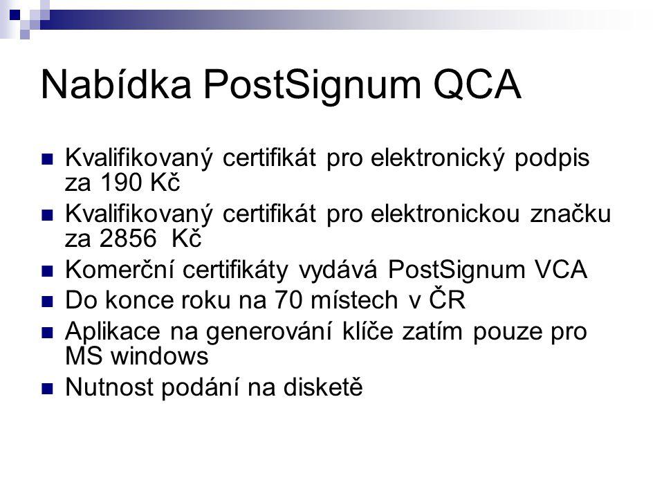 Nabídka PostSignum QCA