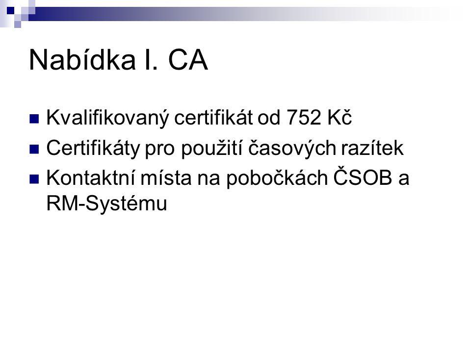 Nabídka I. CA Kvalifikovaný certifikát od 752 Kč