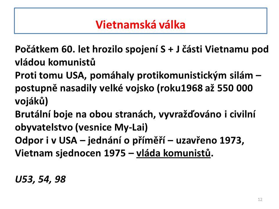 Vietnamská válka Počátkem 60. let hrozilo spojení S + J části Vietnamu pod vládou komunistů.