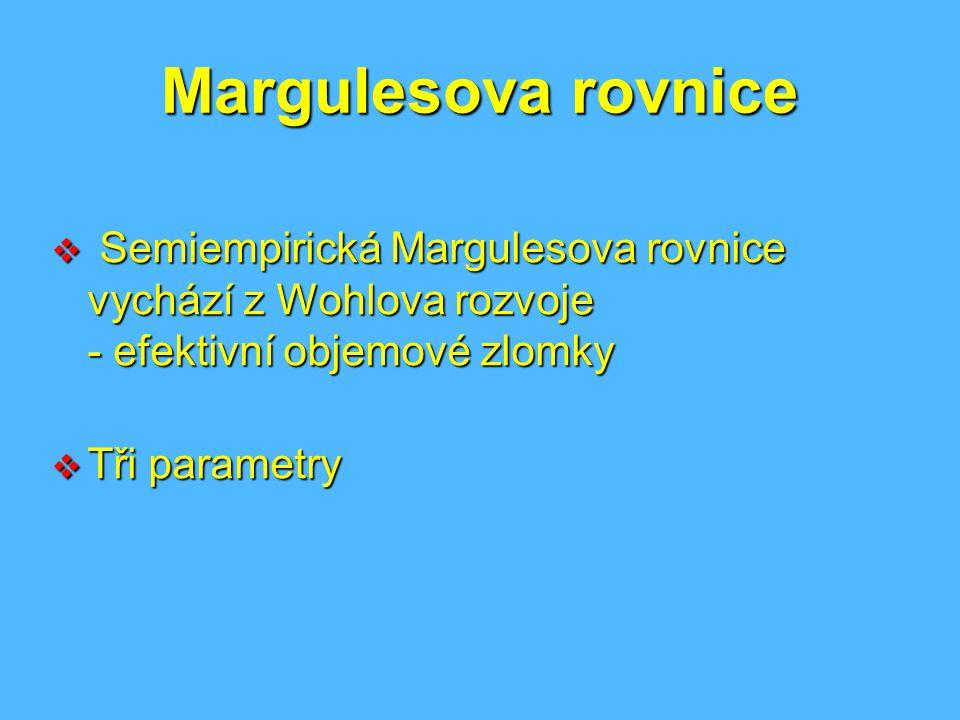Margulesova rovnice Semiempirická Margulesova rovnice vychází z Wohlova rozvoje - efektivní objemové zlomky.
