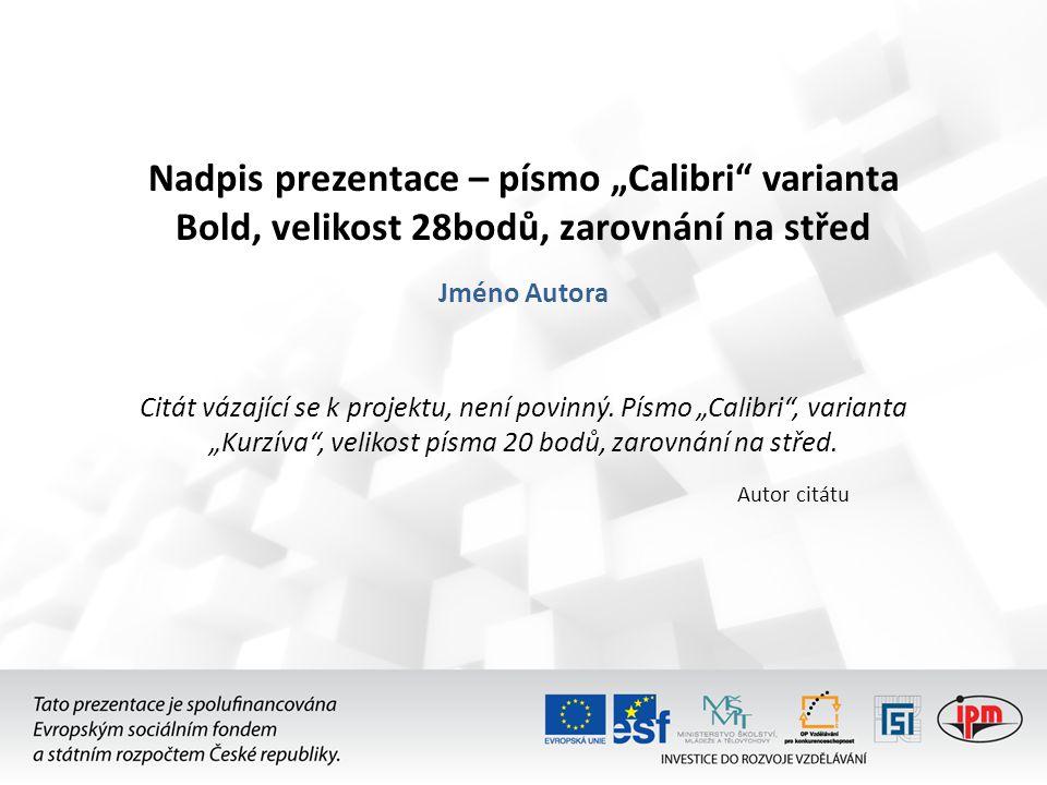 """Nadpis prezentace – písmo """"Calibri varianta Bold, velikost 28bodů, zarovnání na střed"""