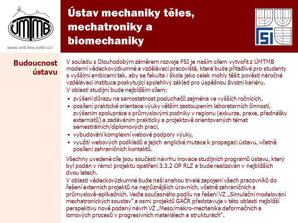 Ústav mechaniky těles, mechatroniky a biomechaniky Budoucnost ústavu