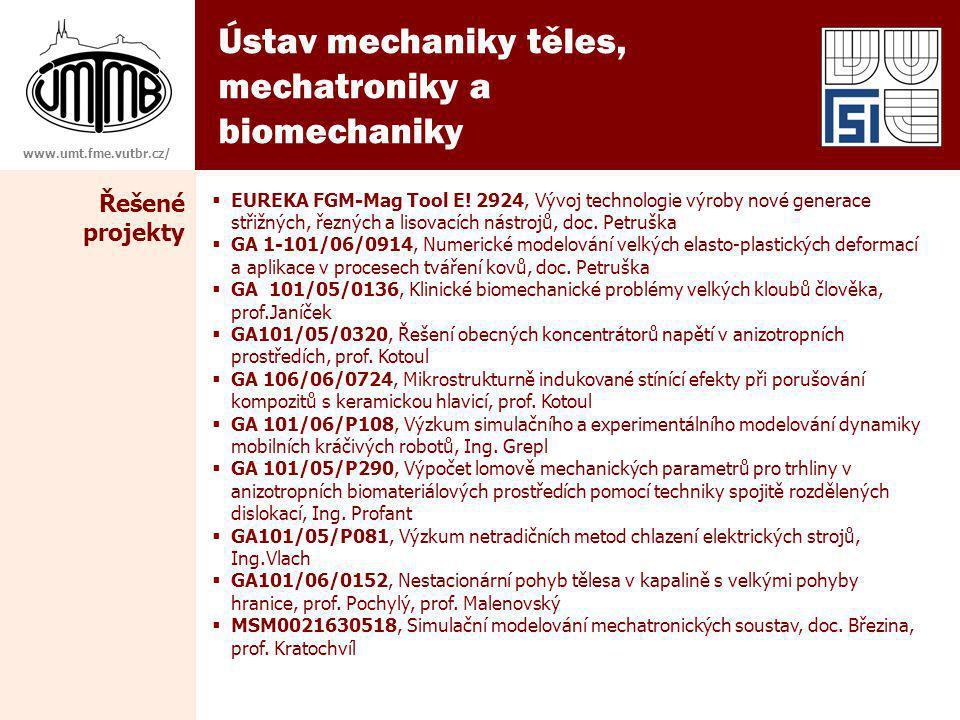 Ústav mechaniky těles, mechatroniky a biomechaniky Řešené projekty