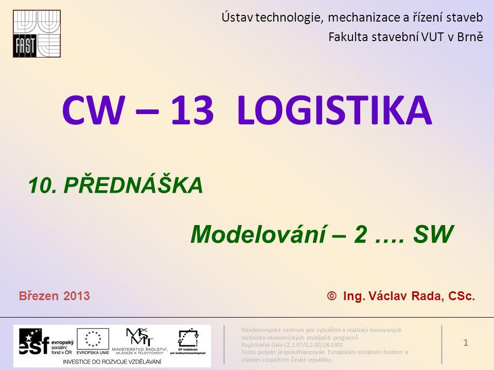 CW – 13 LOGISTIKA Modelování – 2 …. SW 10. PŘEDNÁŠKA