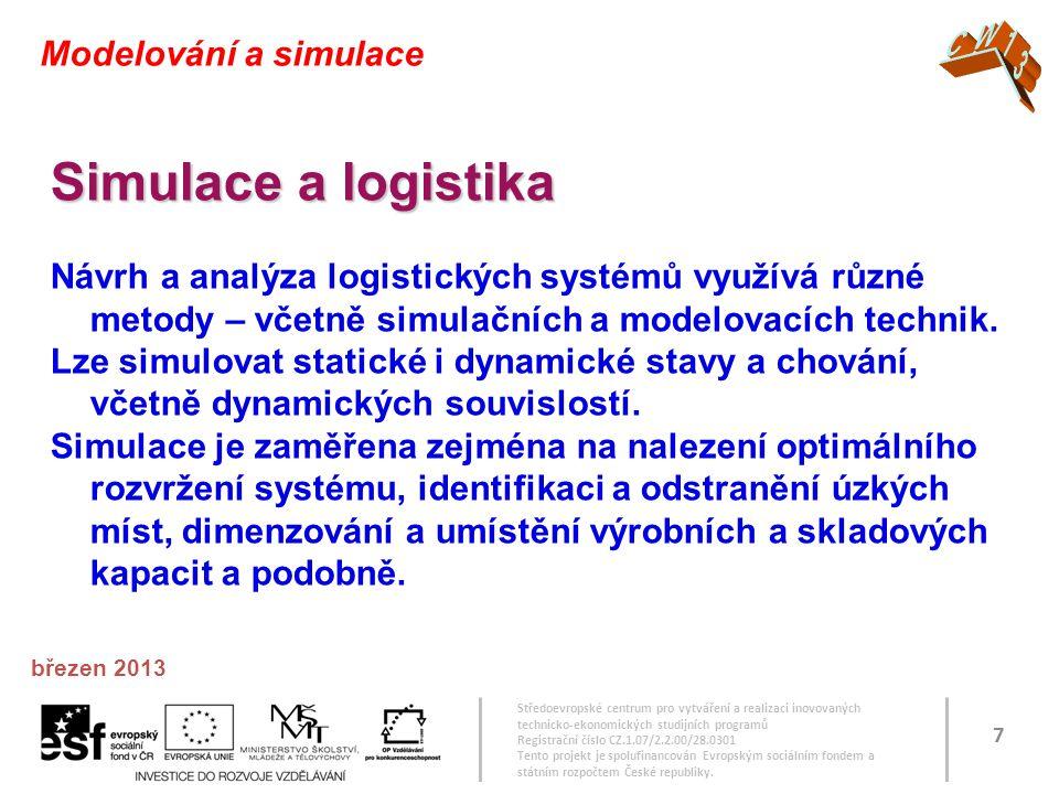 Simulace a logistika CW13 Modelování a simulace