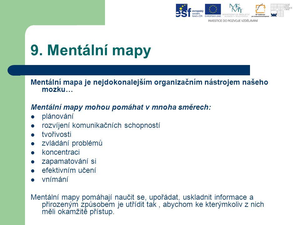 9. Mentální mapy Mentální mapa je nejdokonalejším organizačním nástrojem našeho mozku… Mentální mapy mohou pomáhat v mnoha směrech: