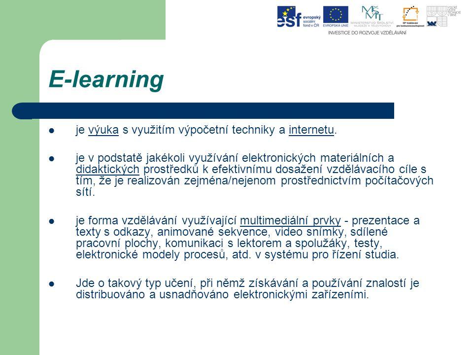 E-learning je výuka s využitím výpočetní techniky a internetu.