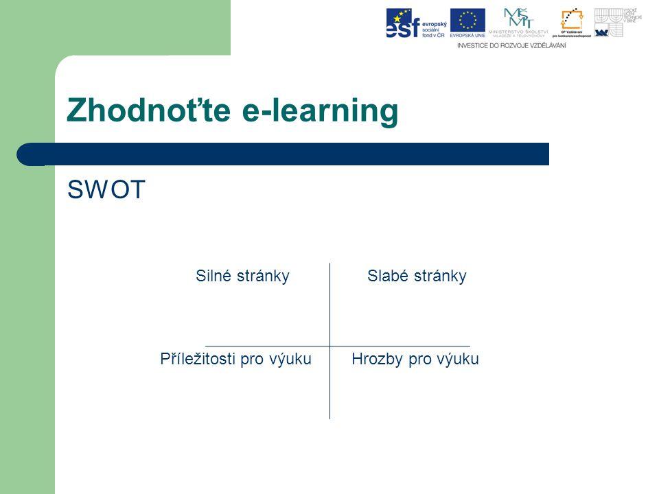Zhodnoťte e-learning SWOT Silné stránky Slabé stránky