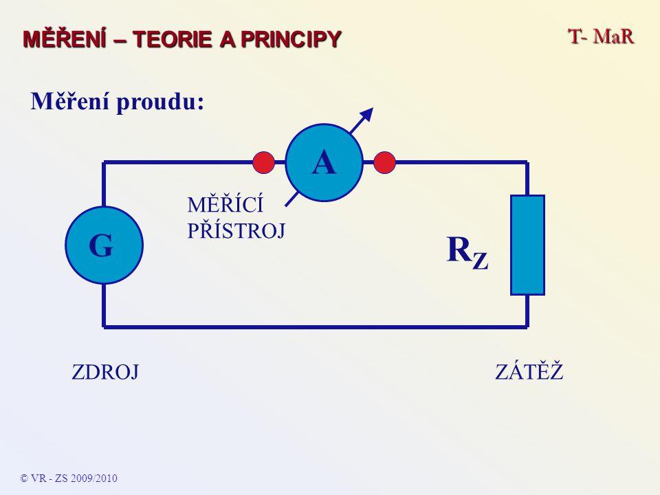 A RZ G Měření proudu: MĚŘENÍ – TEORIE A PRINCIPY T- MaR ZÁTĚŽ ZDROJ
