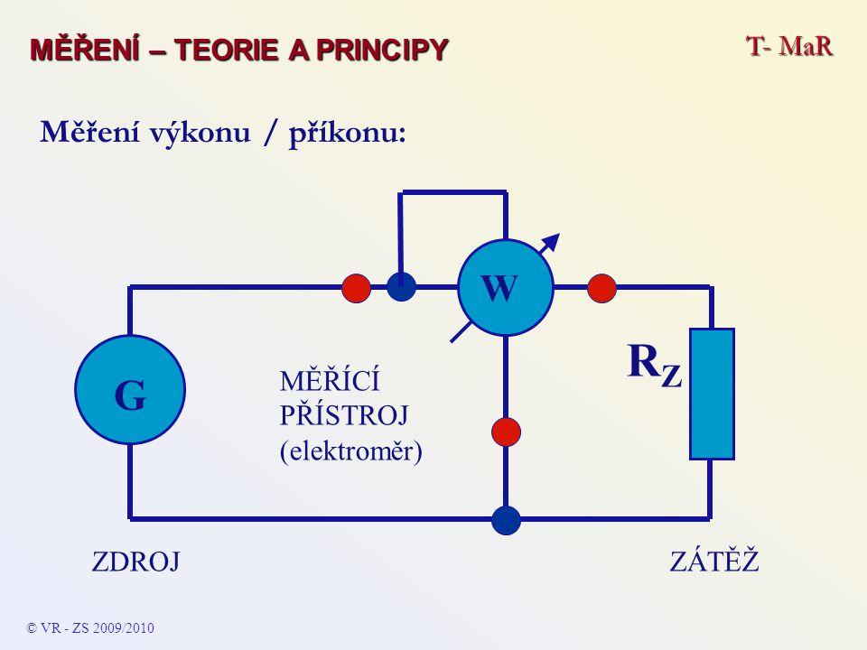 RZ G W Měření výkonu / příkonu: MĚŘENÍ – TEORIE A PRINCIPY T- MaR