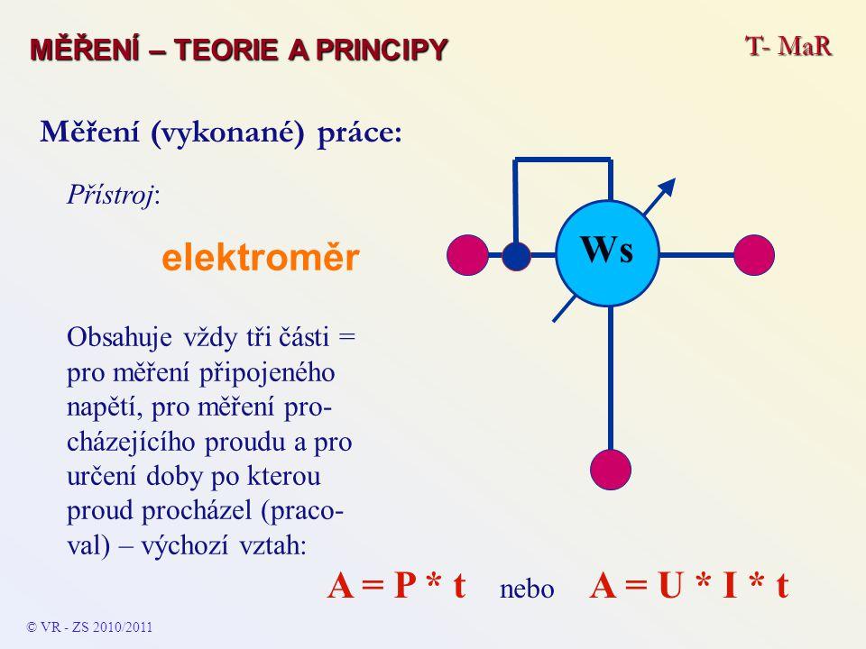 elektroměr Ws A = P * t nebo A = U * I * t Měření (vykonané) práce: