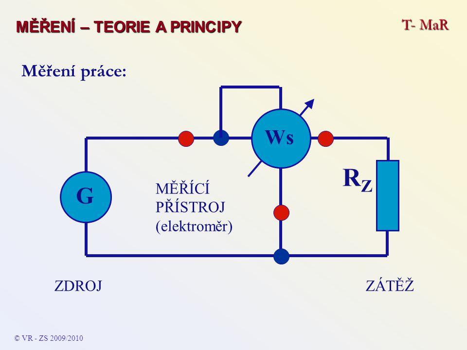 RZ G Ws Měření práce: MĚŘENÍ – TEORIE A PRINCIPY T- MaR ZÁTĚŽ ZDROJ