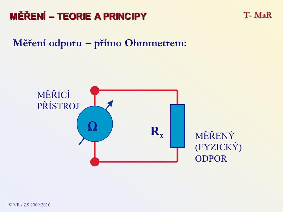 Ω Rx Měření odporu – přímo Ohmmetrem: T- MaR