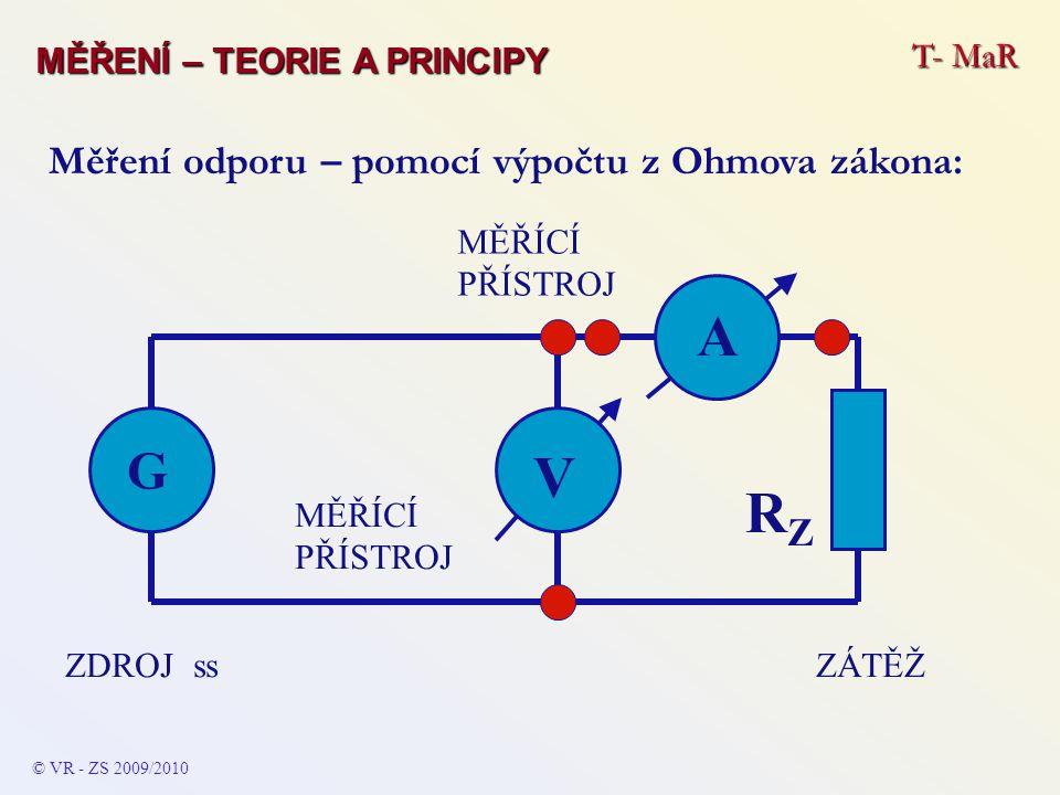 A V RZ G Měření odporu – pomocí výpočtu z Ohmova zákona: