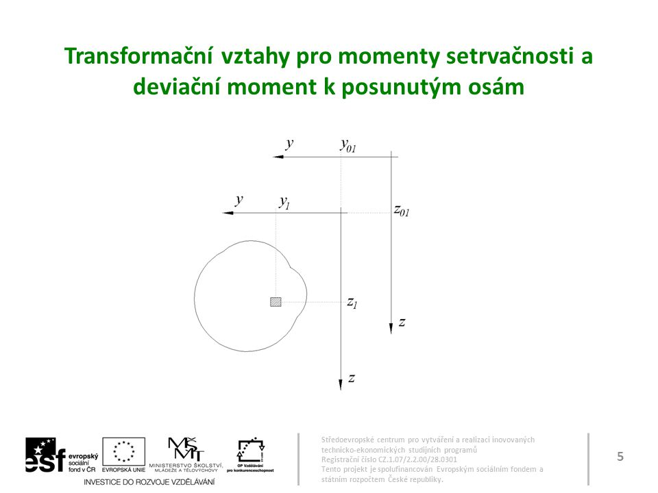 Transformační vztahy pro momenty setrvačnosti a deviační moment k posunutým osám