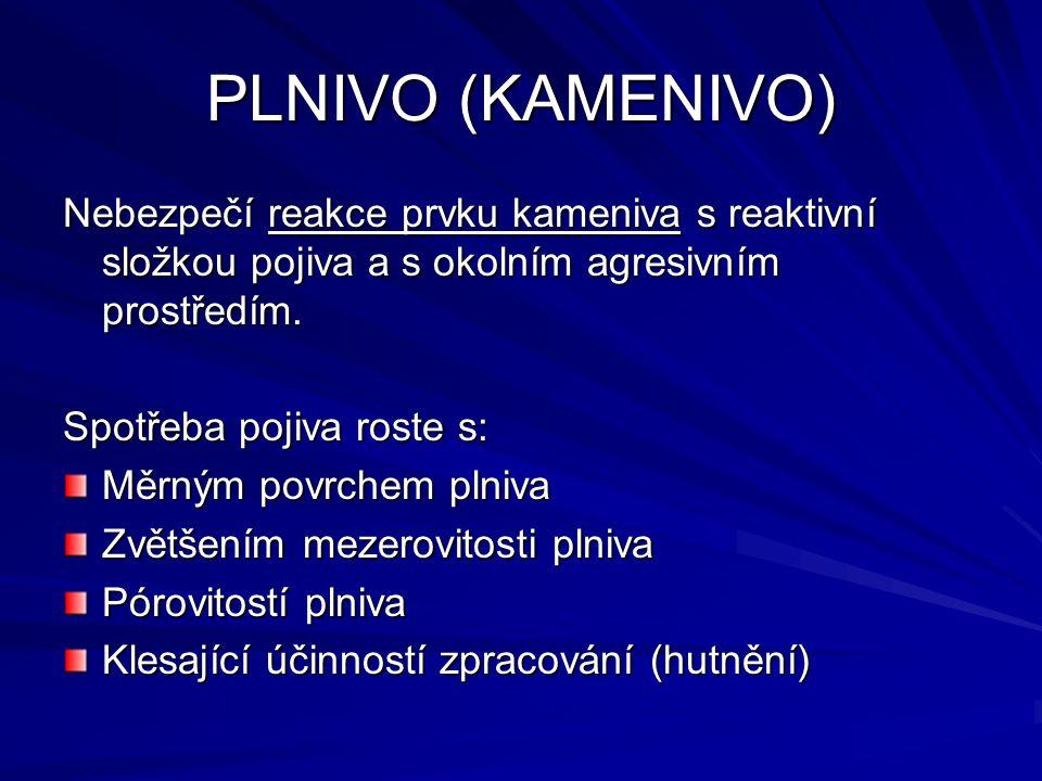 PLNIVO (KAMENIVO) Nebezpečí reakce prvku kameniva s reaktivní složkou pojiva a s okolním agresivním prostředím.