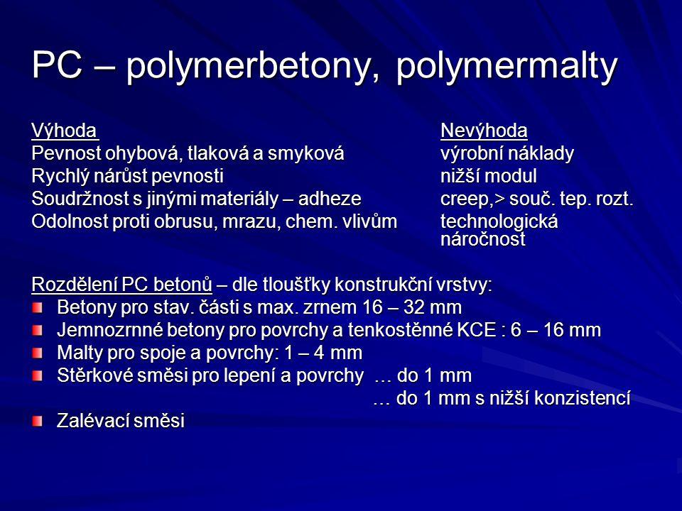 PC – polymerbetony, polymermalty
