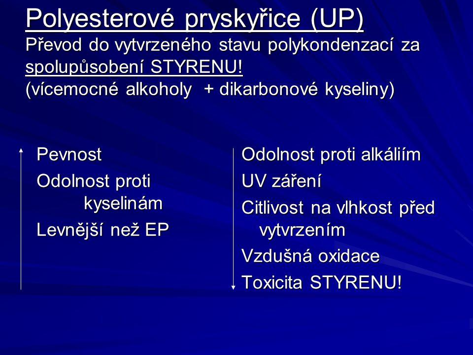 Polyesterové pryskyřice (UP) Převod do vytvrzeného stavu polykondenzací za spolupůsobení STYRENU! (vícemocné alkoholy + dikarbonové kyseliny)