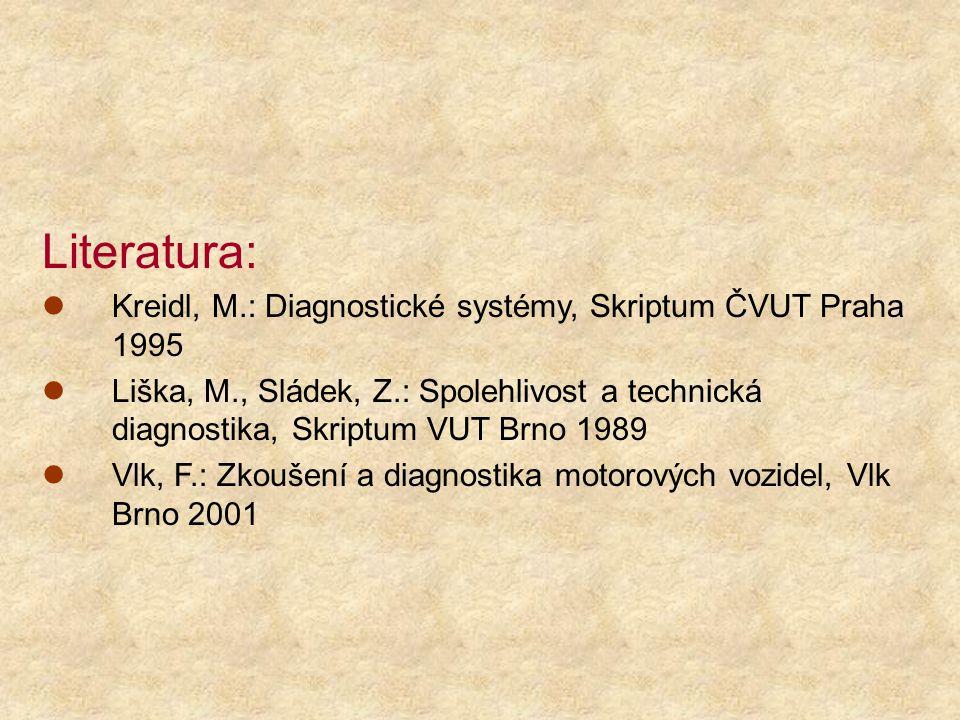 Literatura: Kreidl, M.: Diagnostické systémy, Skriptum ČVUT Praha 1995