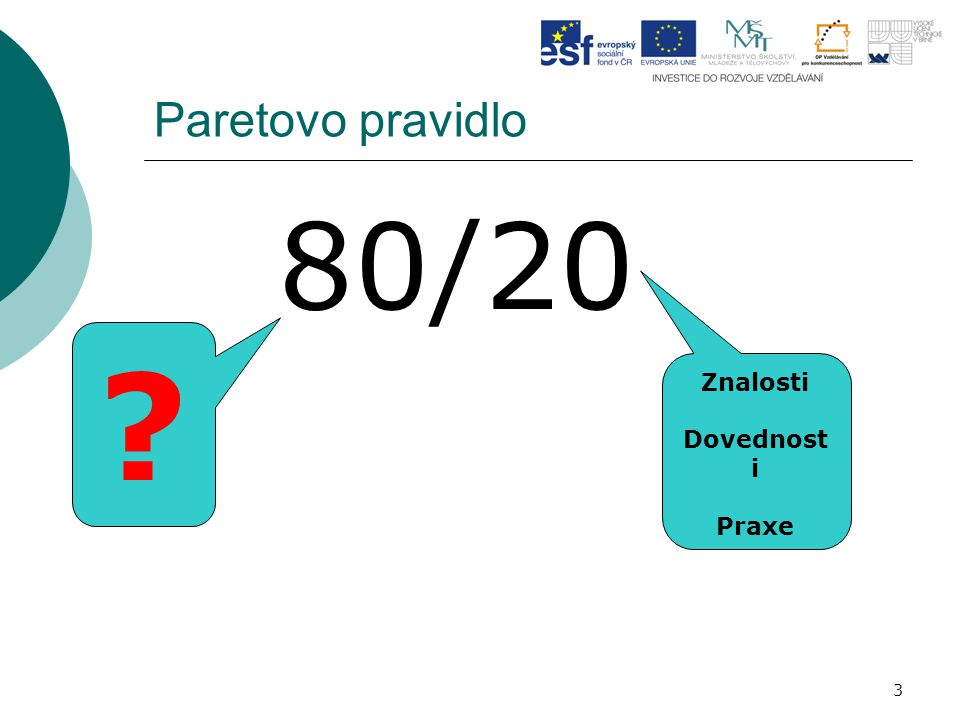 Paretovo pravidlo 80/20 Znalosti Dovednosti Praxe