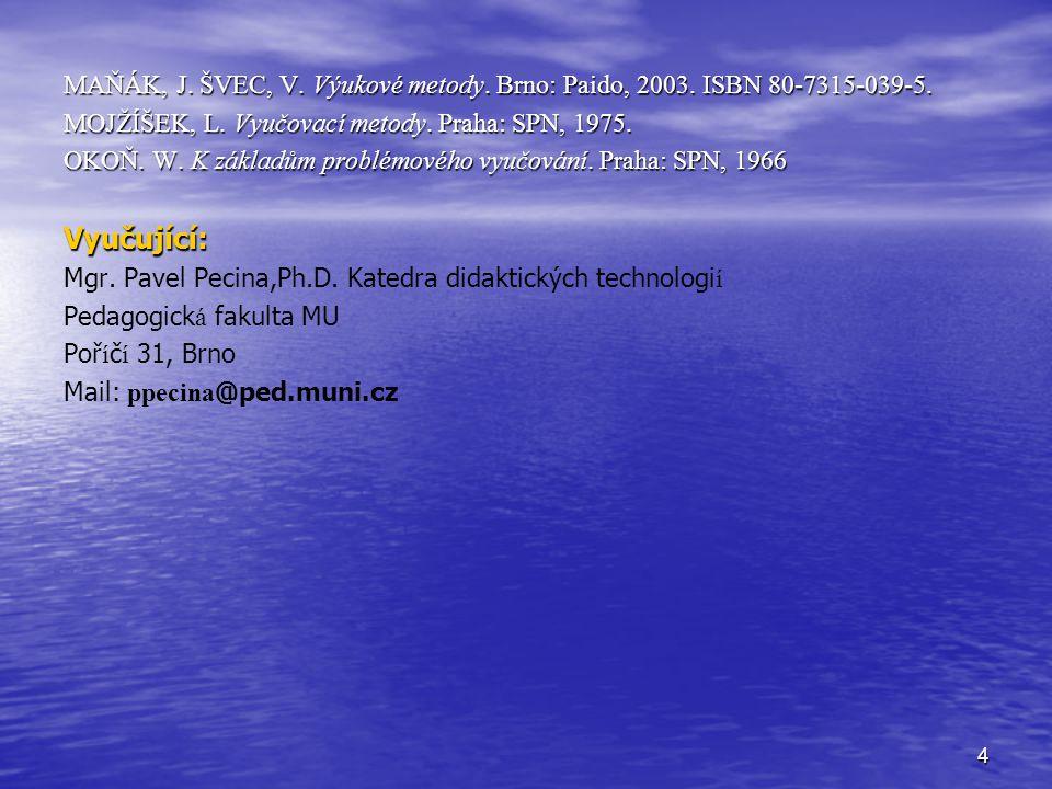 MAŇÁK, J. ŠVEC, V. Výukové metody. Brno: Paido, 2003