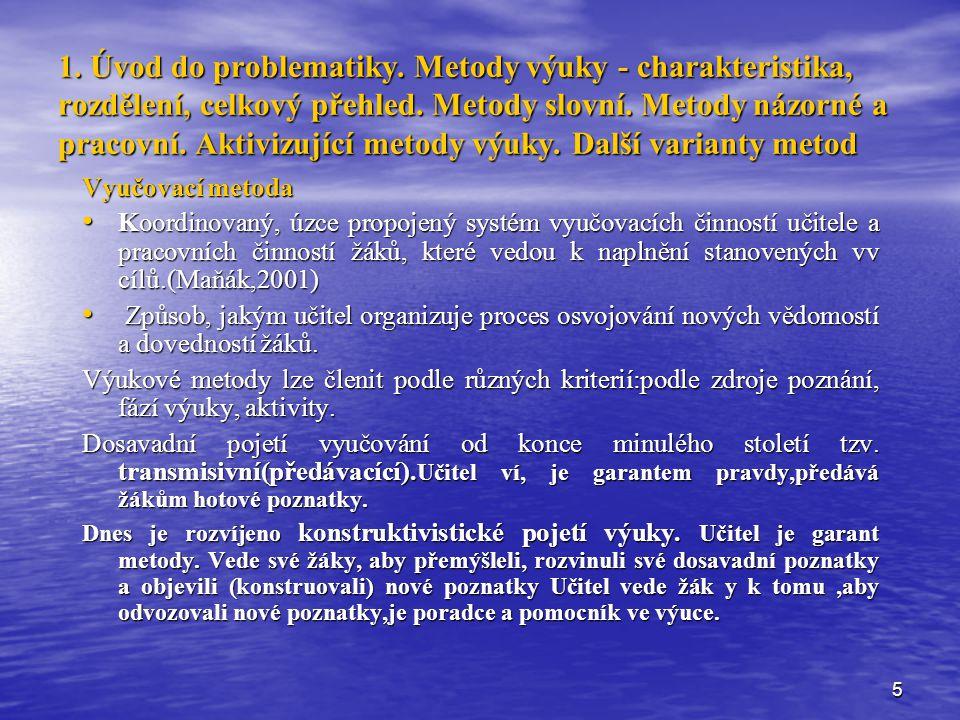 1. Úvod do problematiky. Metody výuky - charakteristika, rozdělení, celkový přehled. Metody slovní. Metody názorné a pracovní. Aktivizující metody výuky. Další varianty metod