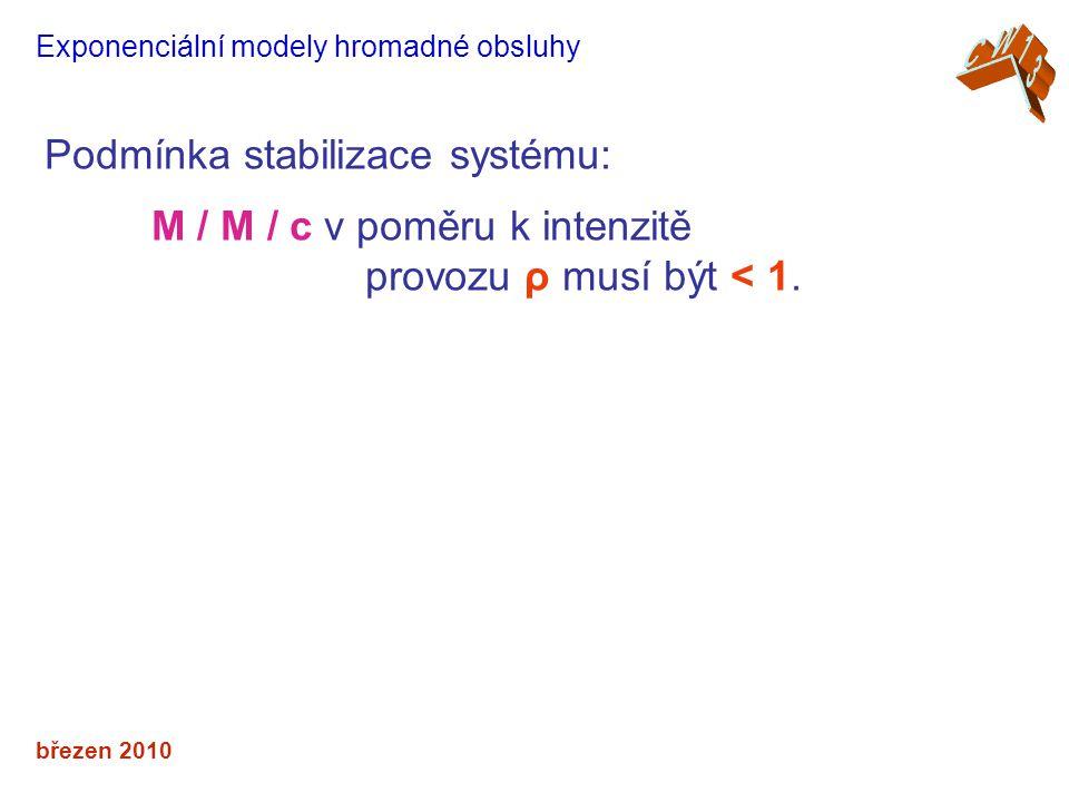 Podmínka stabilizace systému: M / M / c v poměru k intenzitě