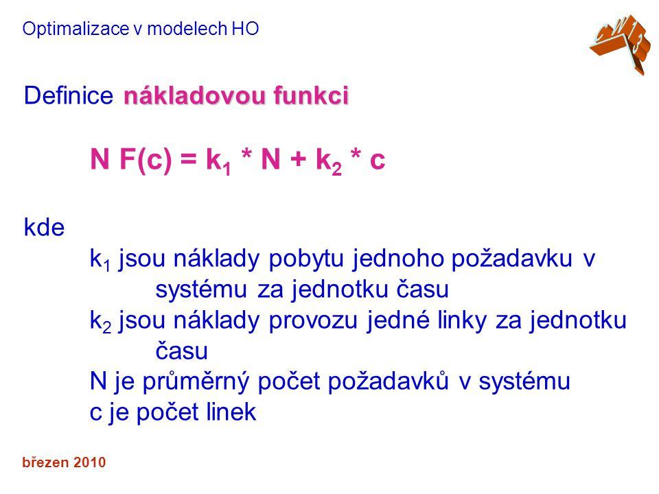 N F(c) = k1 * N + k2 * c Definice nákladovou funkci kde