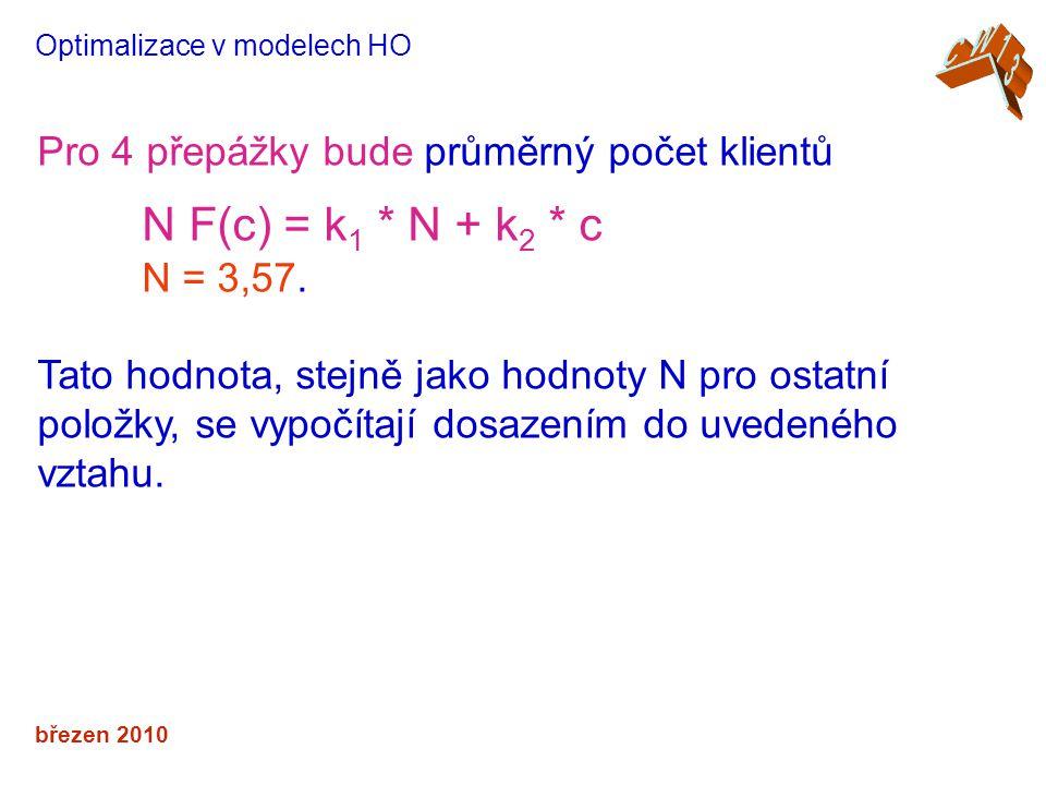 N F(c) = k1 * N + k2 * c Pro 4 přepážky bude průměrný počet klientů