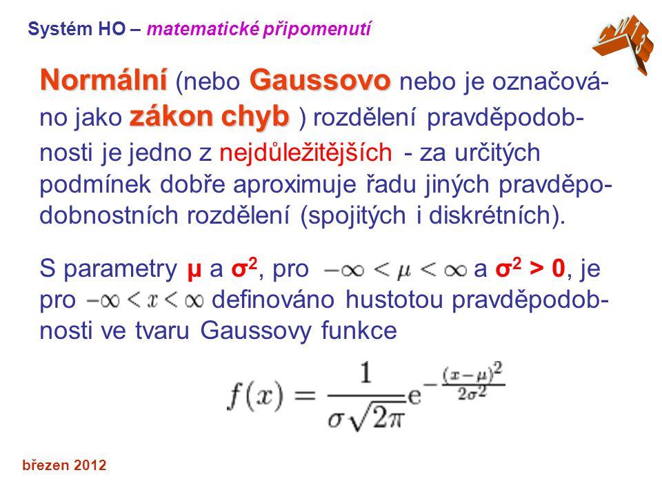 Systém HO – matematické připomenutí