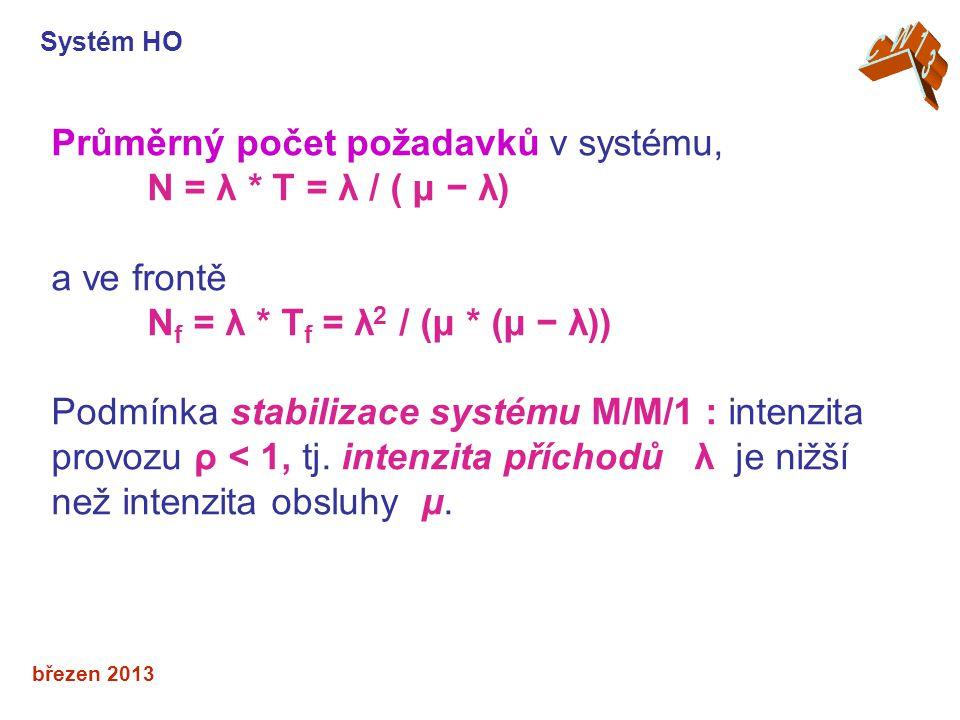Průměrný počet požadavků v systému, N = λ * T = λ / ( μ − λ)