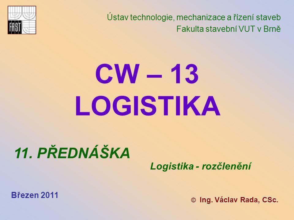 CW – 13 LOGISTIKA 11. PŘEDNÁŠKA Logistika - rozčlenění