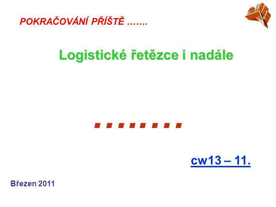 …..… Logistické řetězce i nadále cw13 – 11. CW13 CW05