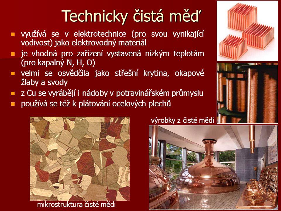 Technicky čistá měď využívá se v elektrotechnice (pro svou vynikající vodivost) jako elektrovodný materiál.