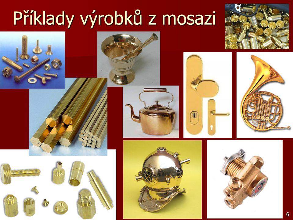 Příklady výrobků z mosazi