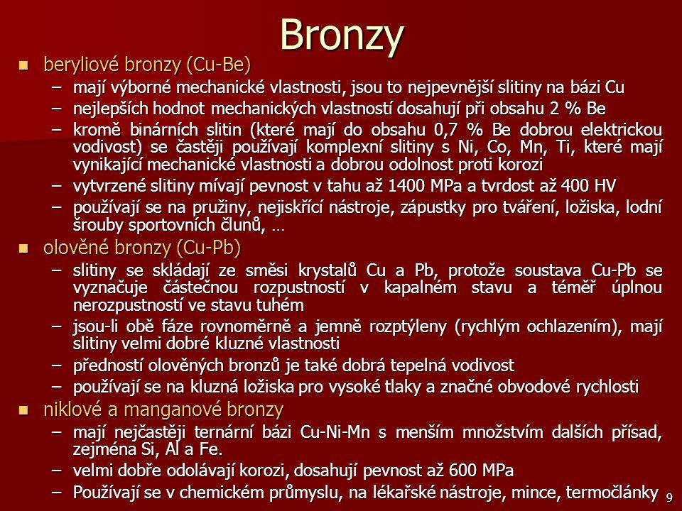Bronzy beryliové bronzy (Cu-Be) olověné bronzy (Cu-Pb)