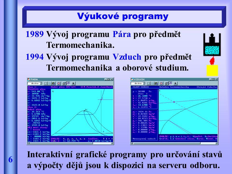 Výukové programy 1989 Vývoj programu Pára pro předmět Termomechanika. 1994 Vývoj programu Vzduch pro předmět Termomechanika a oborové studium.