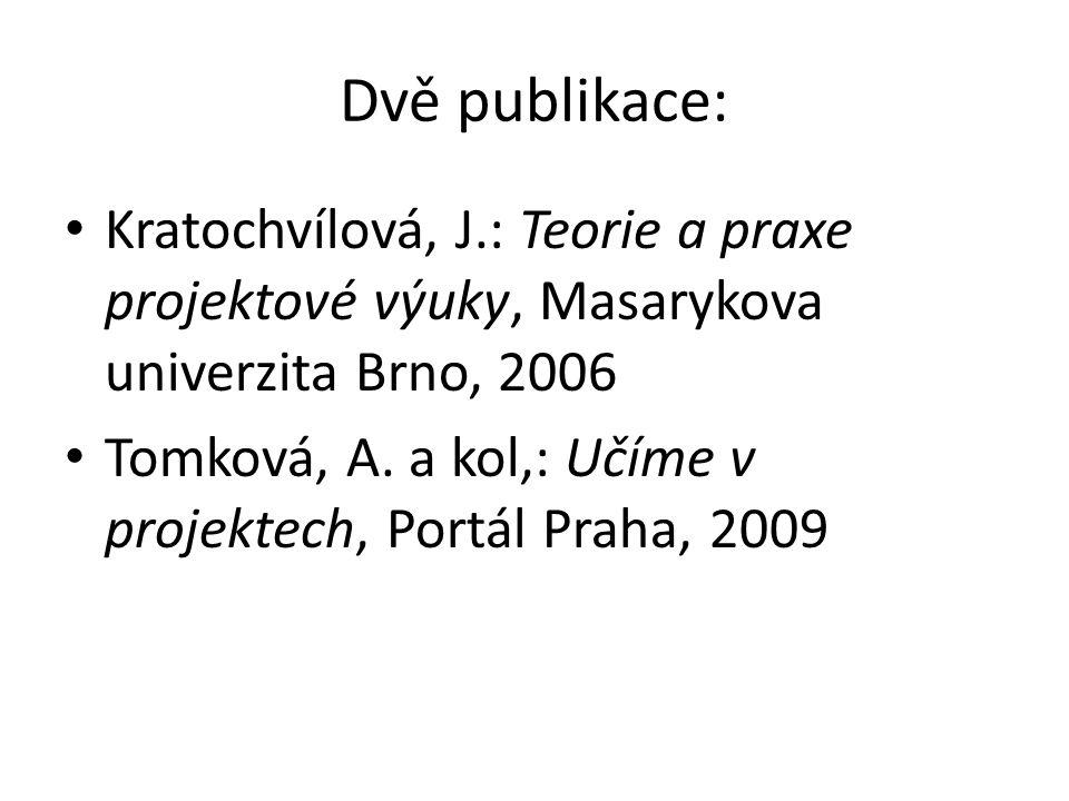 Dvě publikace: Kratochvílová, J.: Teorie a praxe projektové výuky, Masarykova univerzita Brno, 2006.