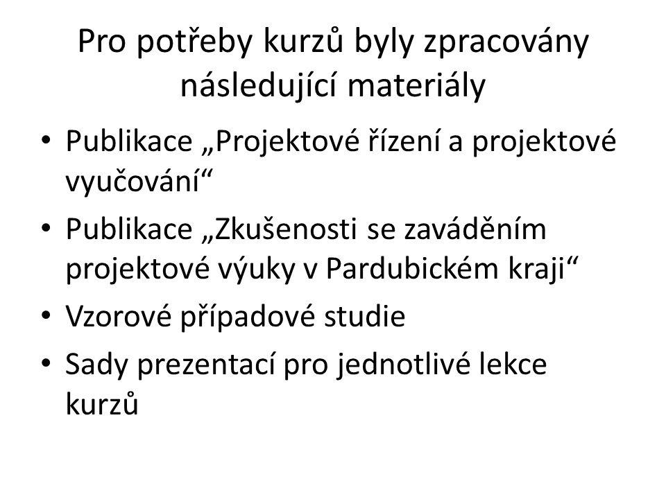 Pro potřeby kurzů byly zpracovány následující materiály