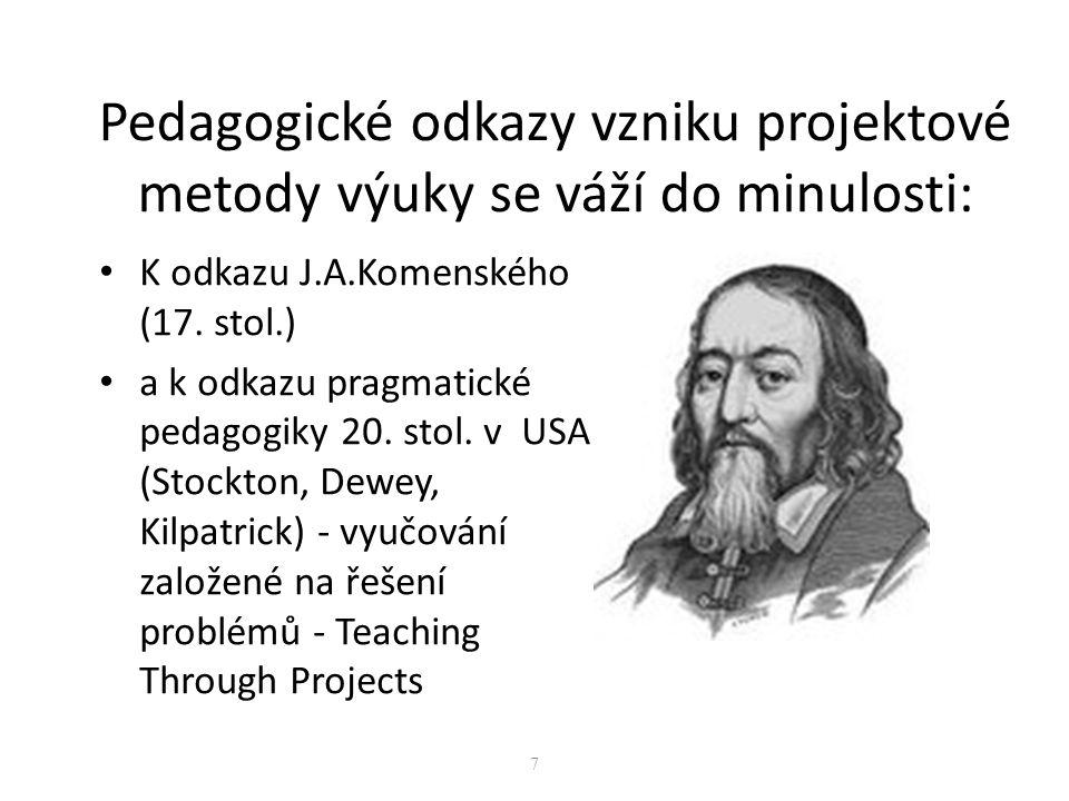 Pedagogické odkazy vzniku projektové metody výuky se váží do minulosti: