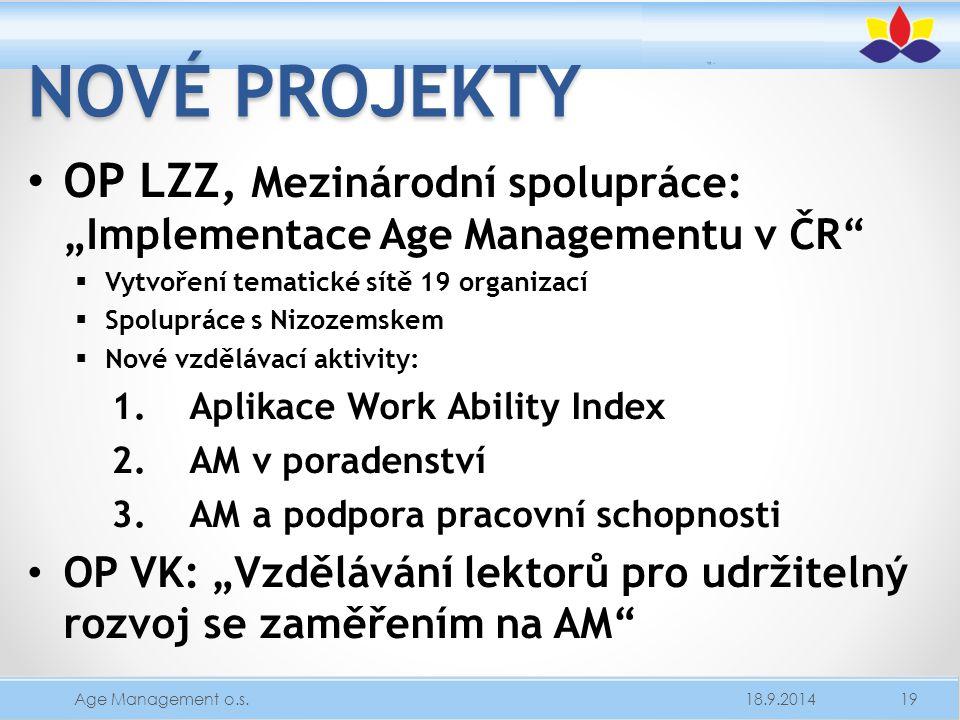 """Nové projekty OP LZZ, Mezinárodní spolupráce: """"Implementace Age Managementu v ČR Vytvoření tematické sítě 19 organizací."""