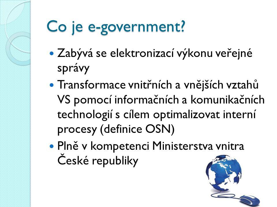 Co je e-government Zabývá se elektronizací výkonu veřejné správy
