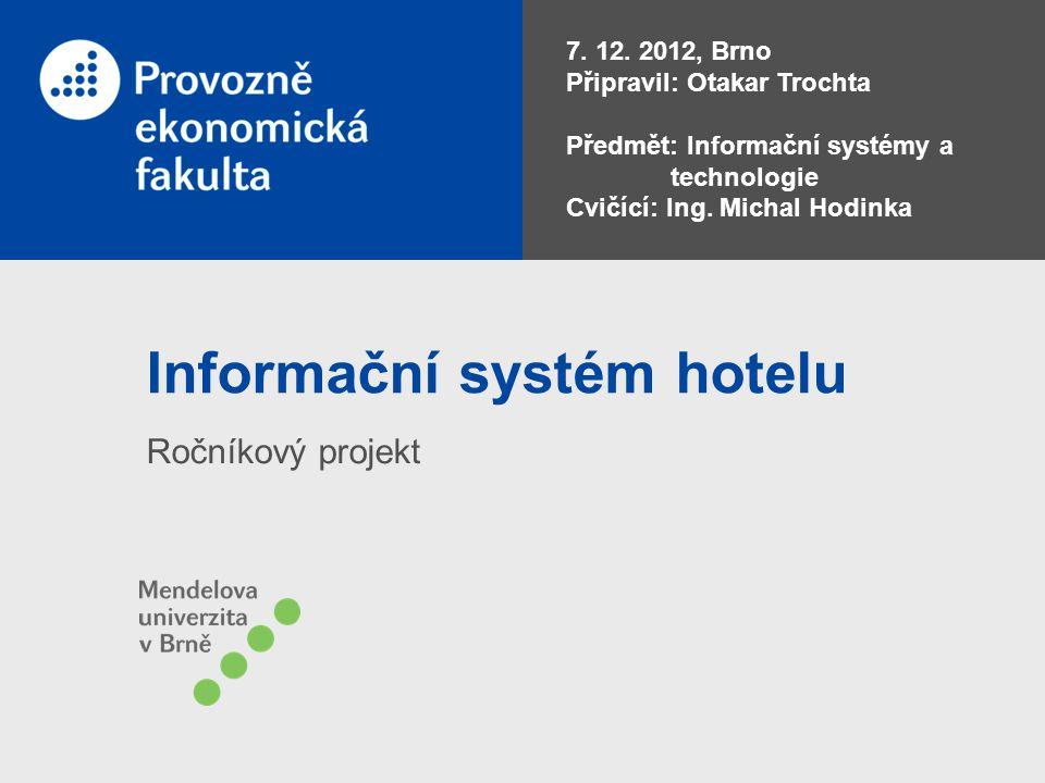 Informační systém hotelu