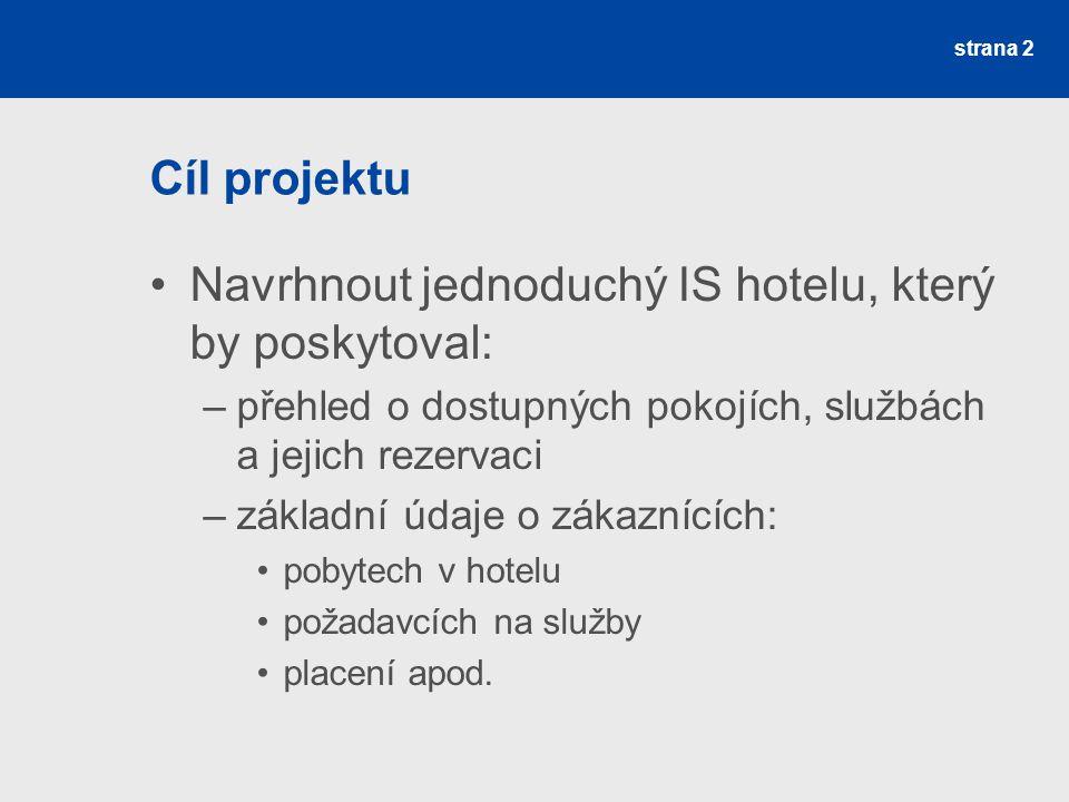 Navrhnout jednoduchý IS hotelu, který by poskytoval: